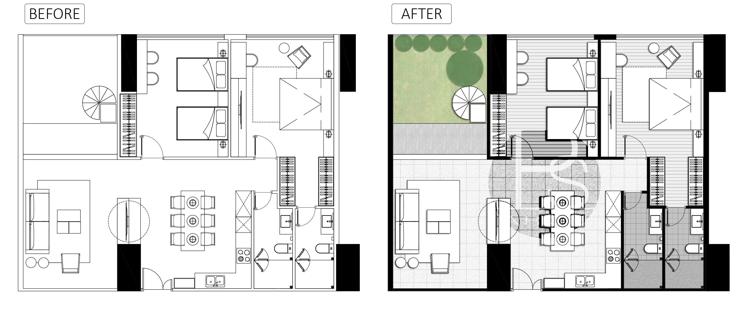 Architecture plan render by photoshop_ Simple style _ PART 3