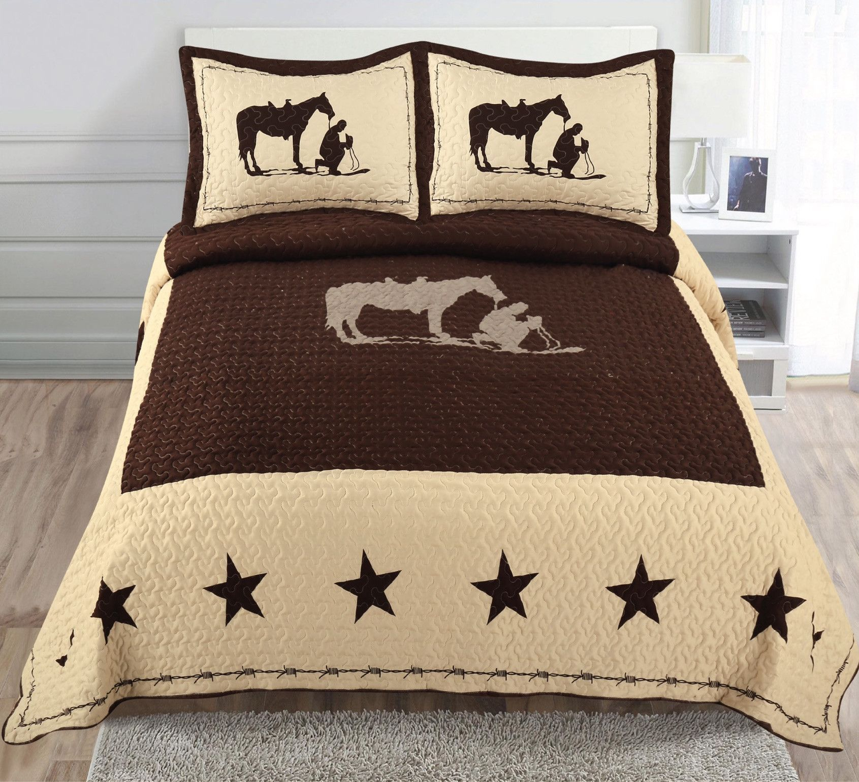 Praying Cowboy Horse Star Western Brown Quilt Bedspread Beige Bed Spreads Cowboy Bedroom Duvet Bedding Sets