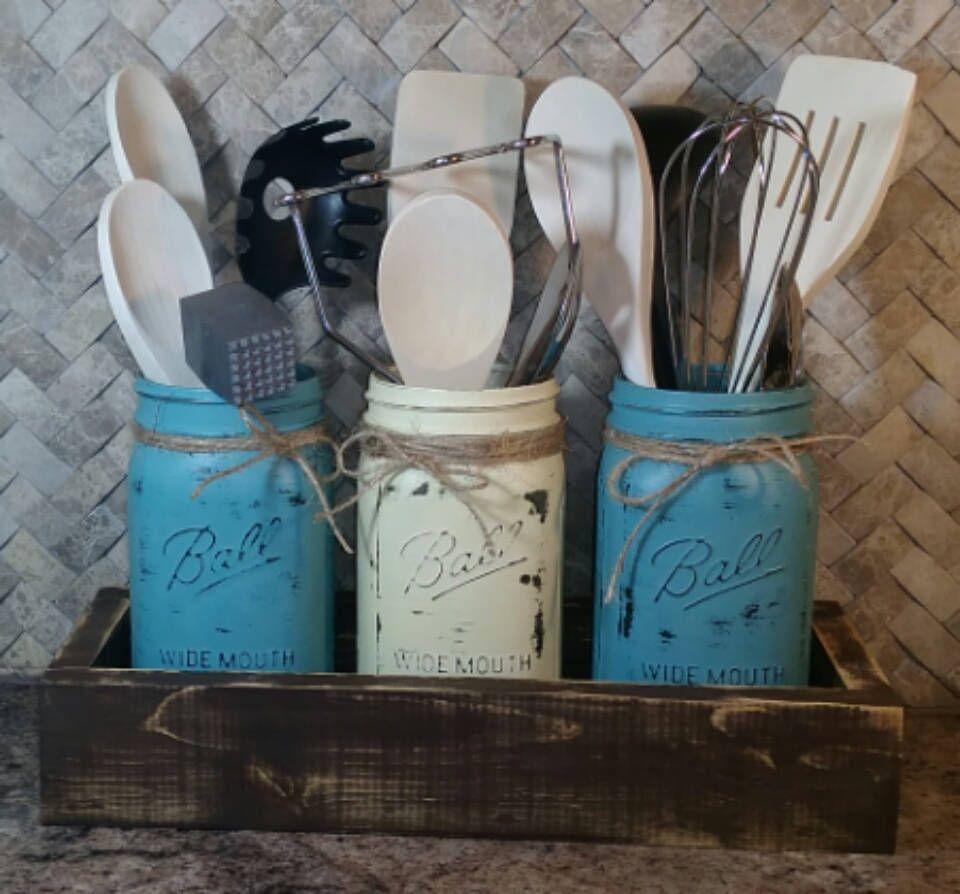 Farmhouse rustic kitchen utensil holder mason jar utensil