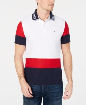d14d6b51f0e93 Tommy Hilfiger Men s Classic Fit Bryant Colorblocked Polo - Red L