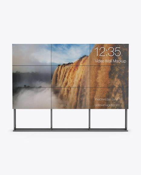 Lcd Video Wall Stand Mockup Front View In Indoor Advertising Mockups On Yellow Images Object Mockups Mockup Free Psd Video Wall Mockup Downloads