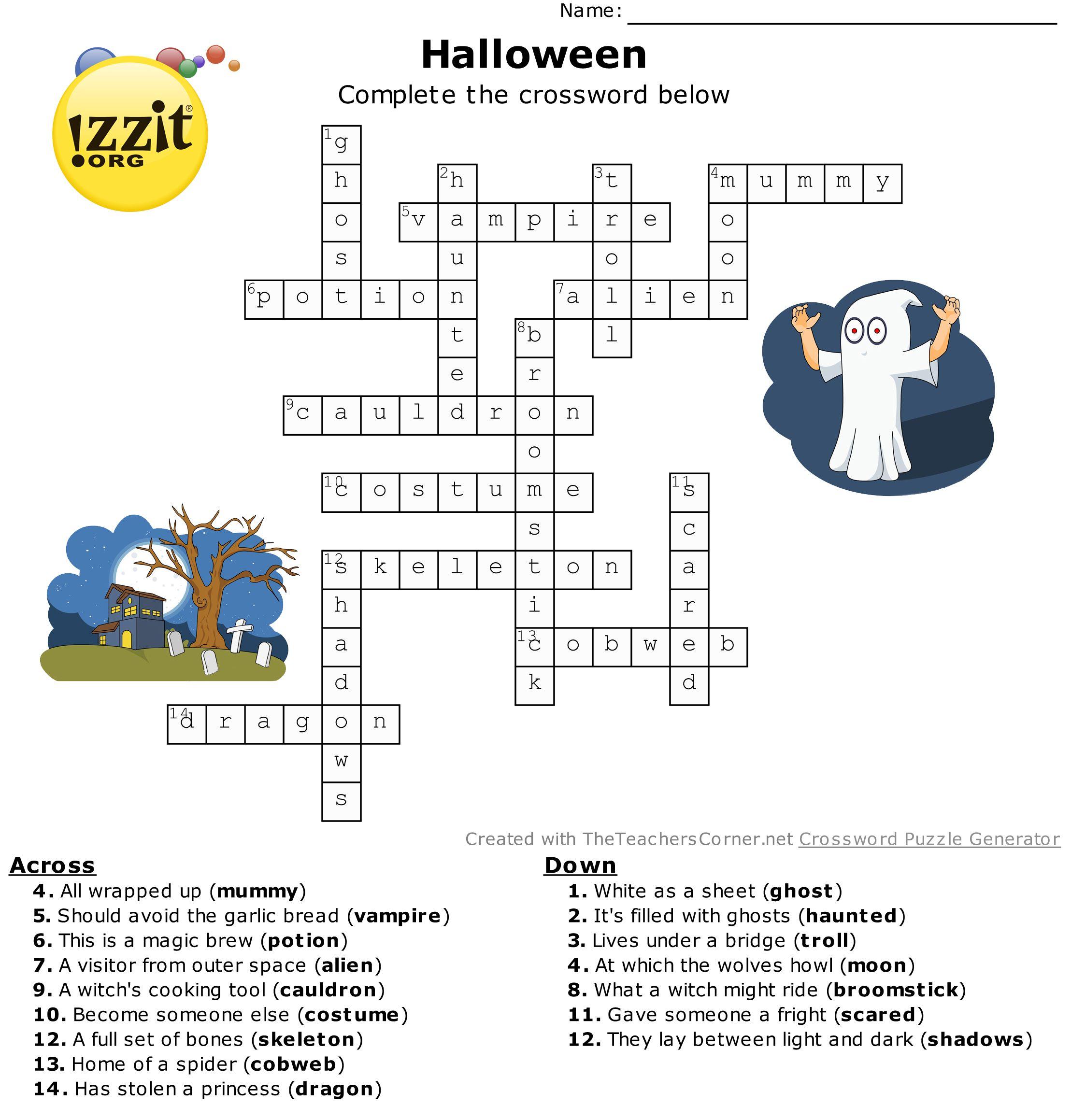 Halloween Crossword Answers Hard HappyHalloween