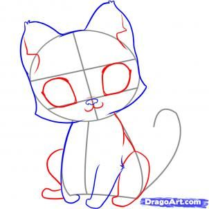 Easy Step By Step To Draw A Cute Kitten Kitten Drawing Drawings Animal Drawings