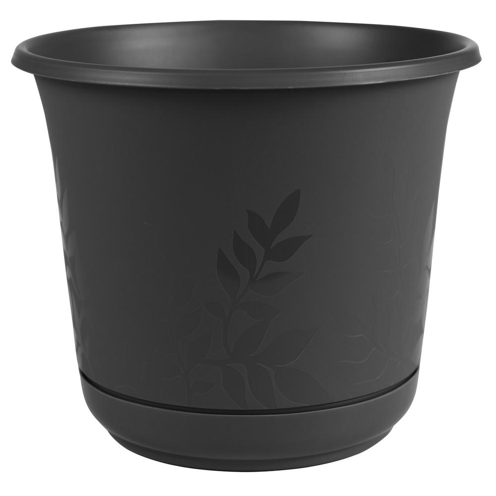 Bloem 12 X 11 Black Freesia Plastic Planter W Saucer Plastic Planter Planters Ceramic Planters