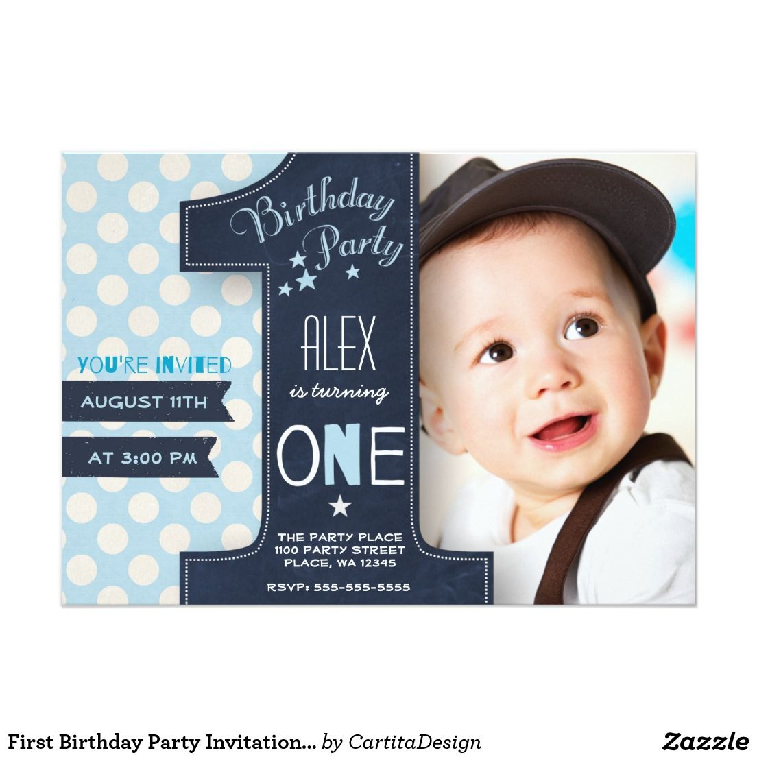 First Birthday Party Invitation Boy Chalkboard | Party invitations ...