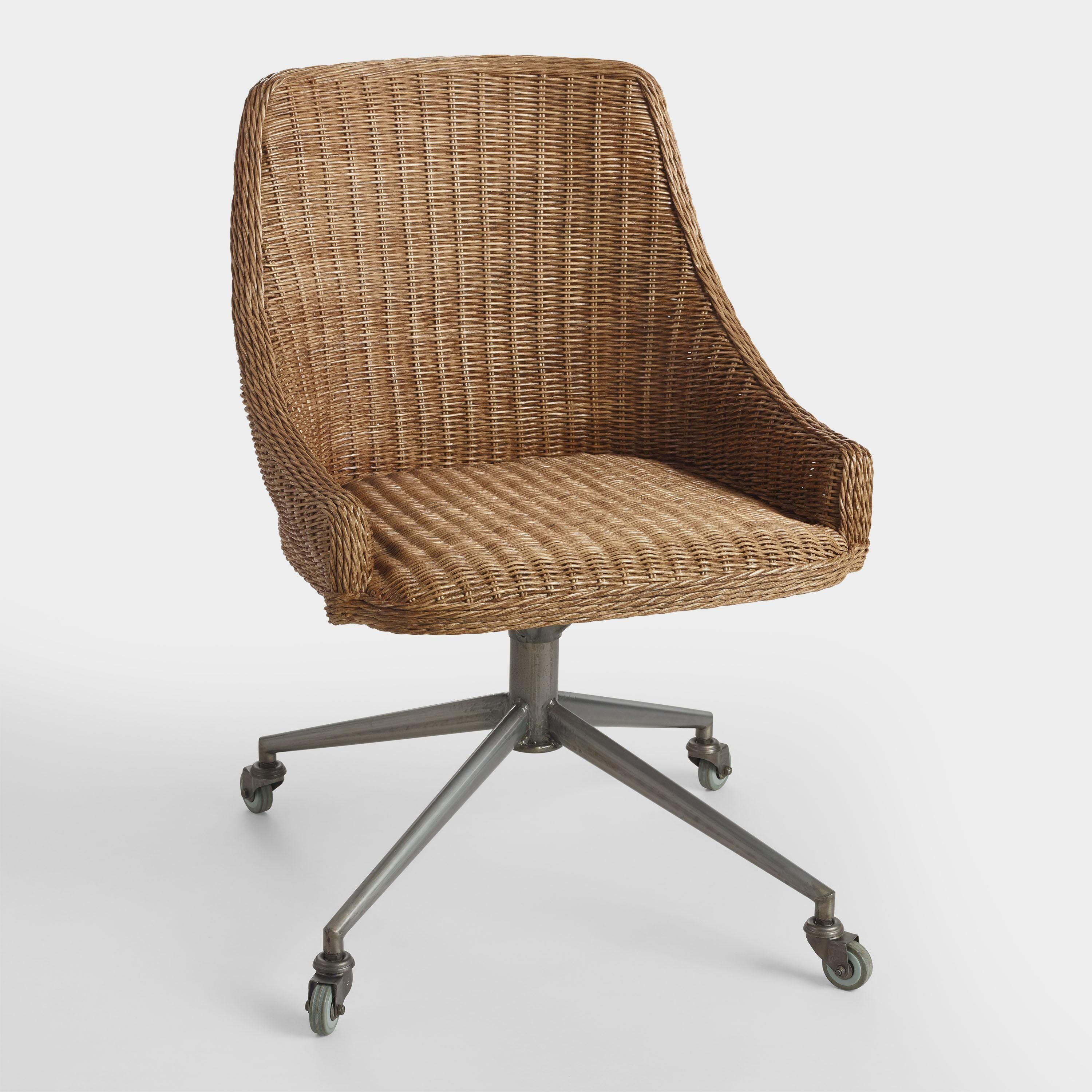 Honey Brown Wicker Tania Office Chair Office Chair Upholstered