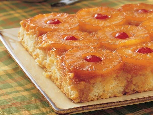 Pineapple Upside-Down Cake..........      Ingredients.....    1/4 cup butter or margarine...     2/3 cup packed brown sugar ...    9 slices pineapple in juice (from 14-oz can), drained ...    9 maraschino cherries without stems, if desired ...    1 1/3 cups Gold Medal® all-purpose flour ...    1 cup granulated sugar ...    1/3 cup shortening ...    1 1/2 teaspoons baking powder...     1/2 teaspoon salt ...    3/4 cup milk...     1 egg...