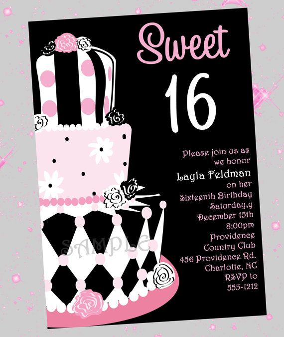 Sweet 16 Cake Cupcake Invitation by Cutie Patootie Creations – Sweet 16 Party Invitation Ideas