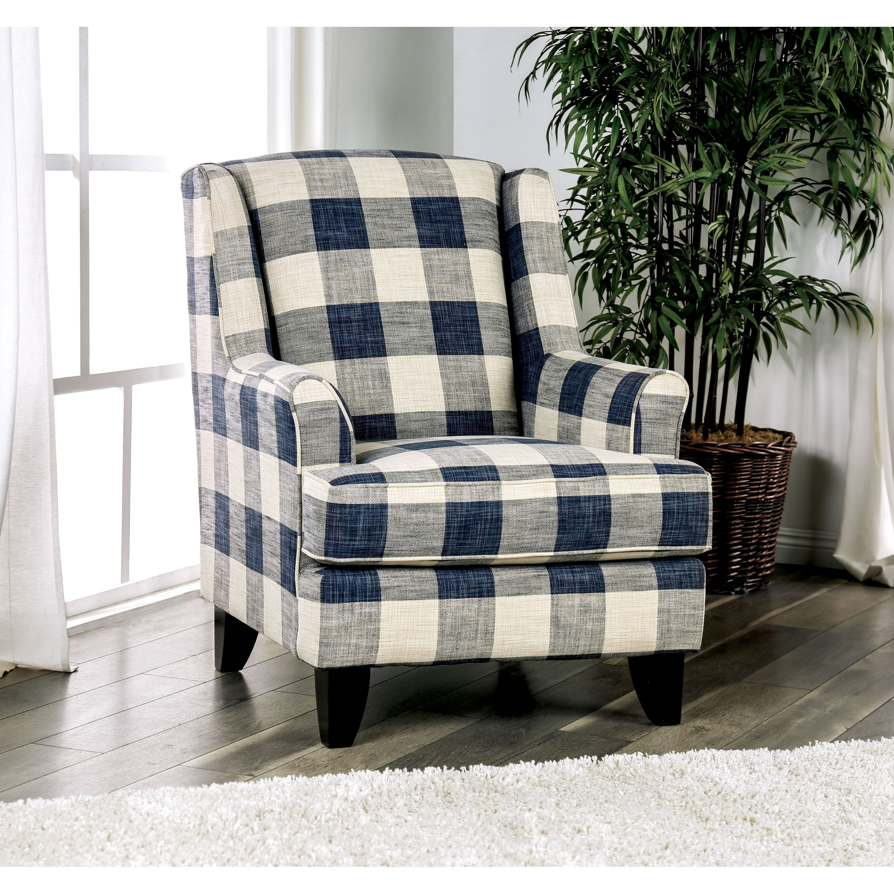 Best Mccallan Transitional Blue And White Plaid Accent Chair By 400 x 300