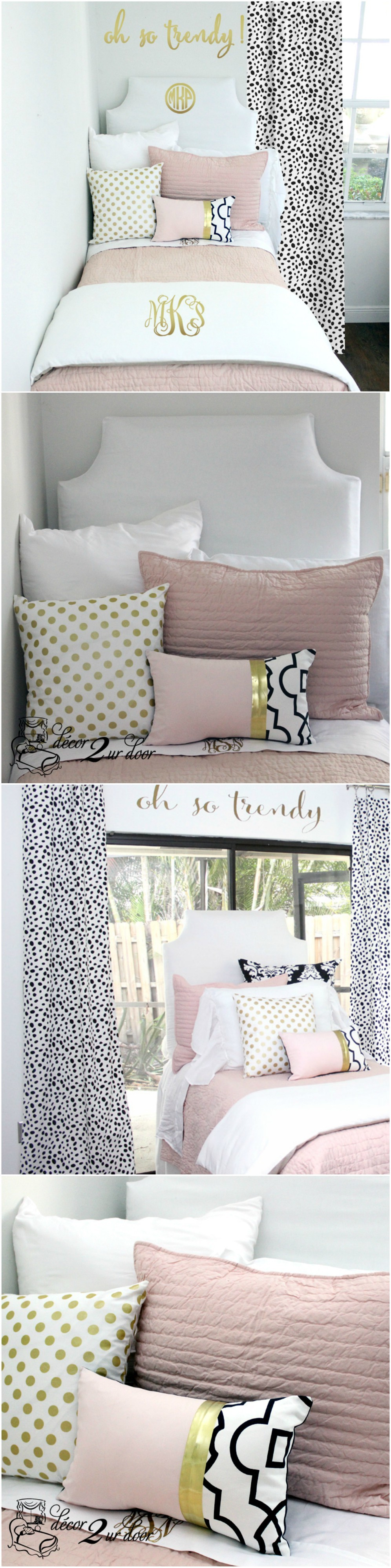 Blush Pink White & A Pop of Black Designer Dorm Bedding Set