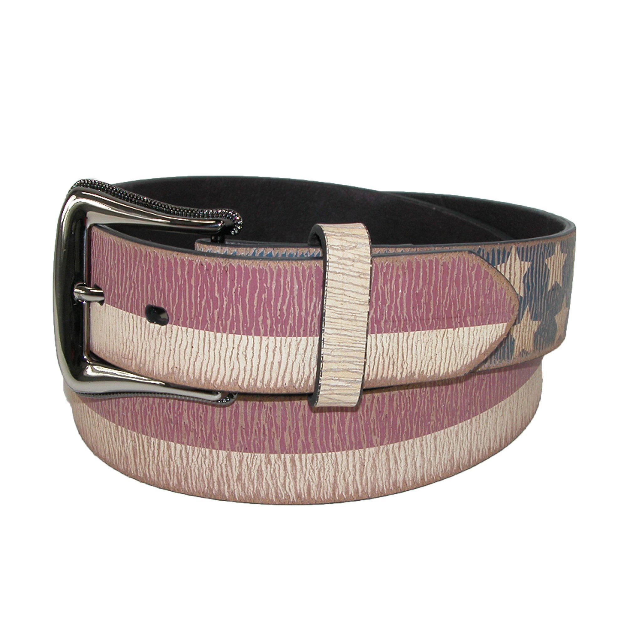 3 D Belt Company Mens Vintage Distressed Leather American Flag Belt
