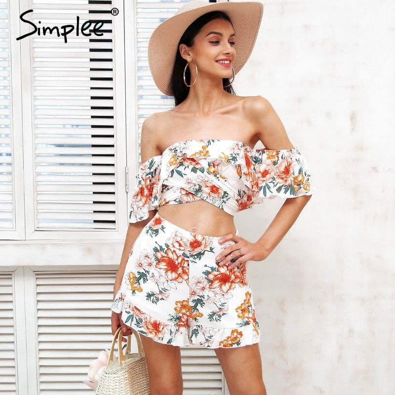 2ca5108b1b Simplee Off shoulder two piece jumpsuits rompers Women floral print jumpsuit  short Summer 2018 ruffle sexy