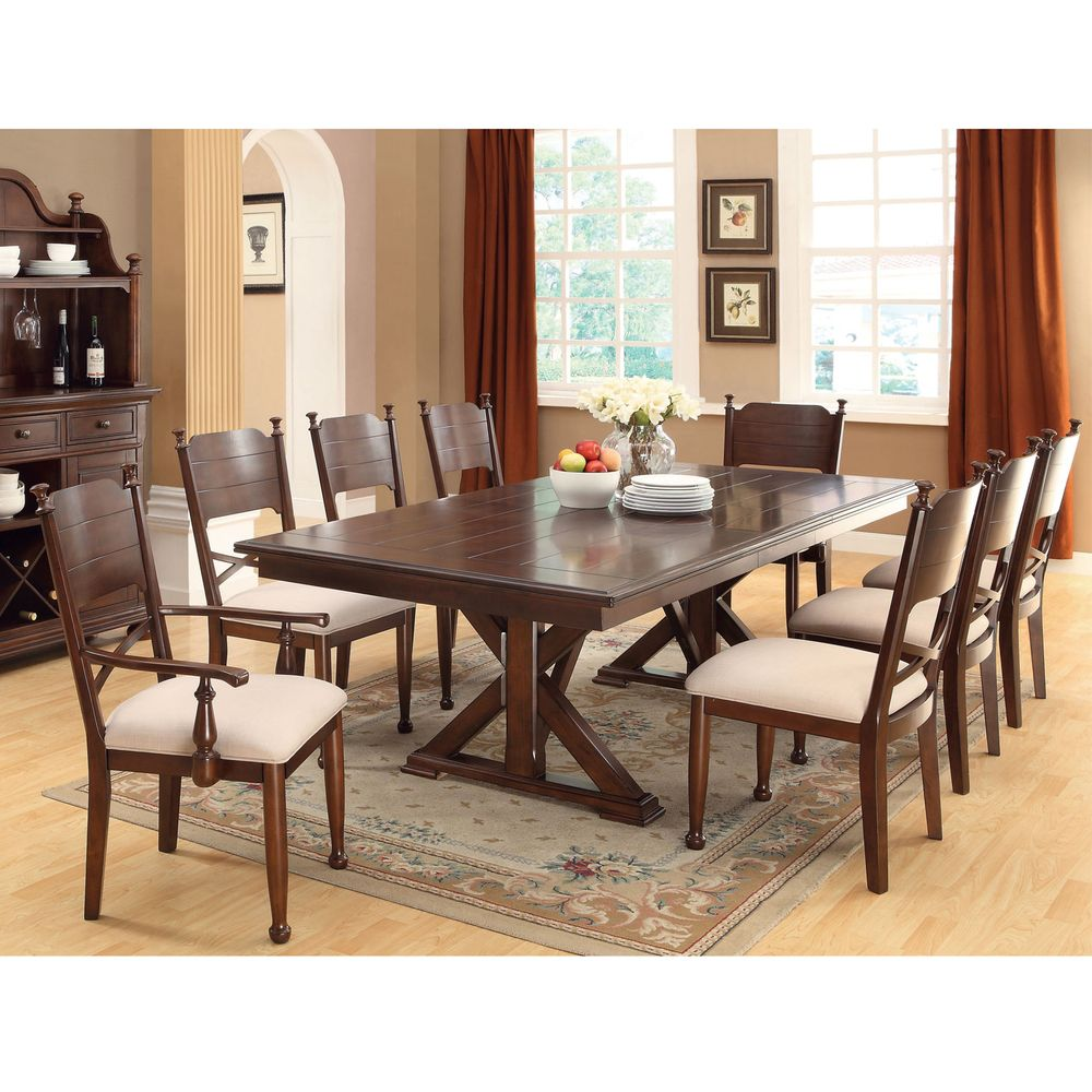 furniture of america dining sets. Furniture Of America Descani 9-Piece Brown Cherry Dining Set With Leaf - Overstock™ Sets