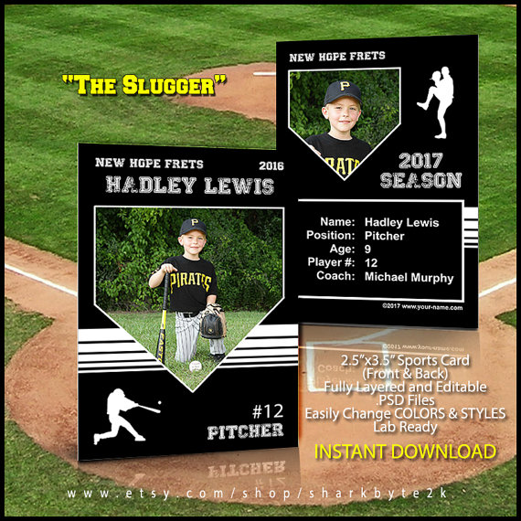 Baseball card template perfect for trading cards for your team for use in photoshop easily for Baseball card back template