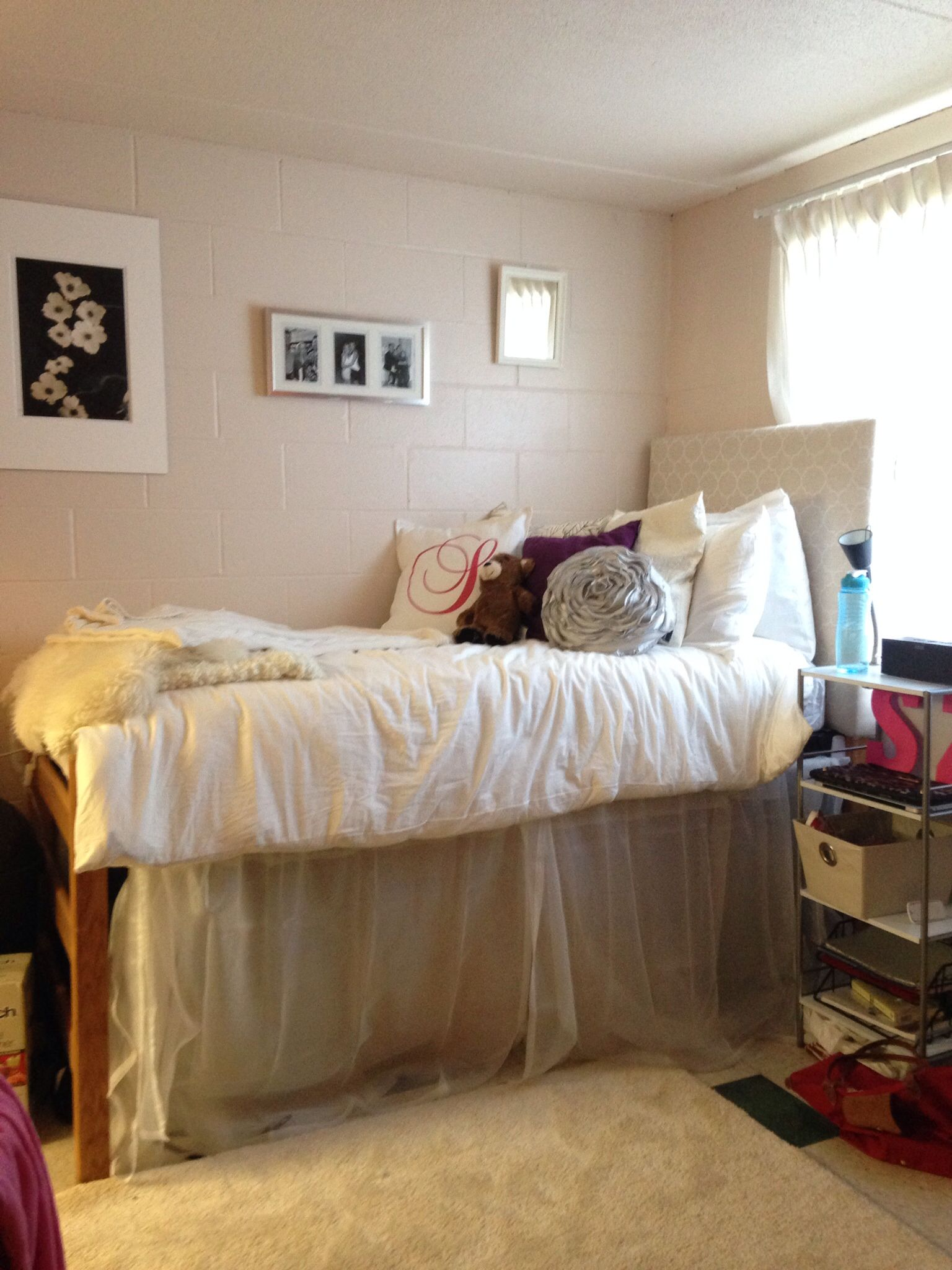 Dorm Room Beds: DIY Dorm, With Homemade Bed Skirt And Headboard, Dorm
