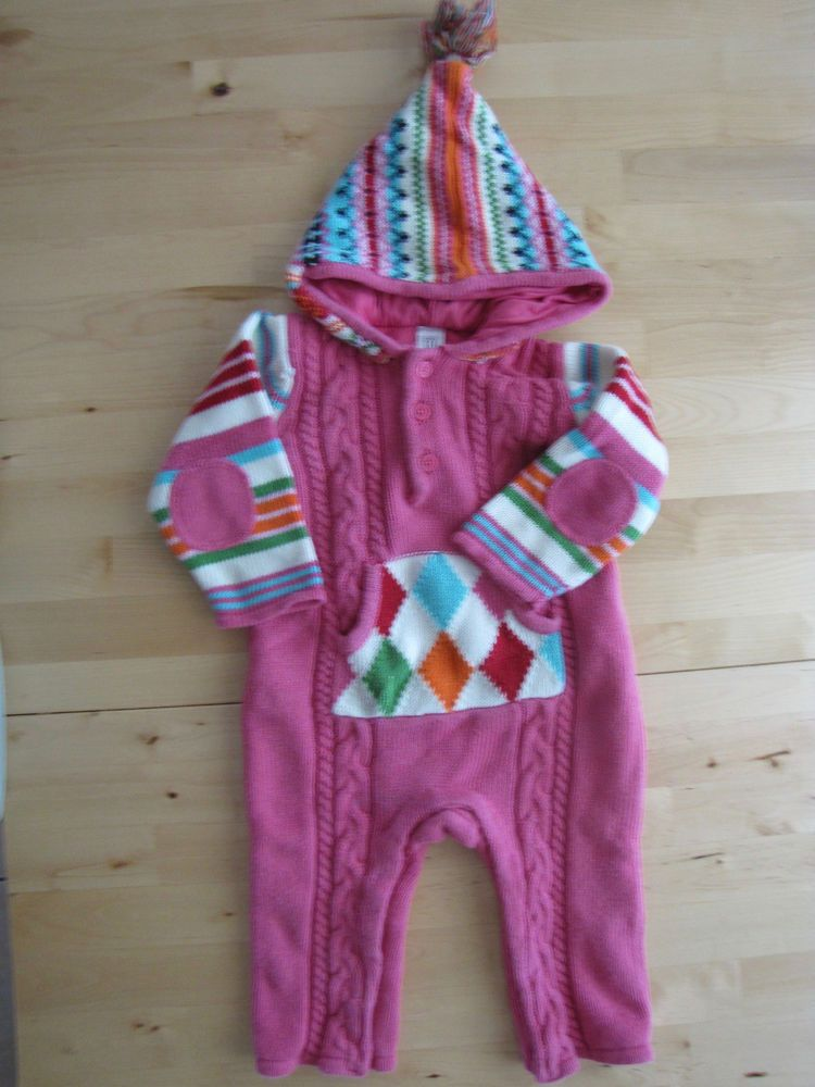 Baby Gap 6-12 Months Fair Isle Sweater Romper EUC Hooded Knit Pink ...