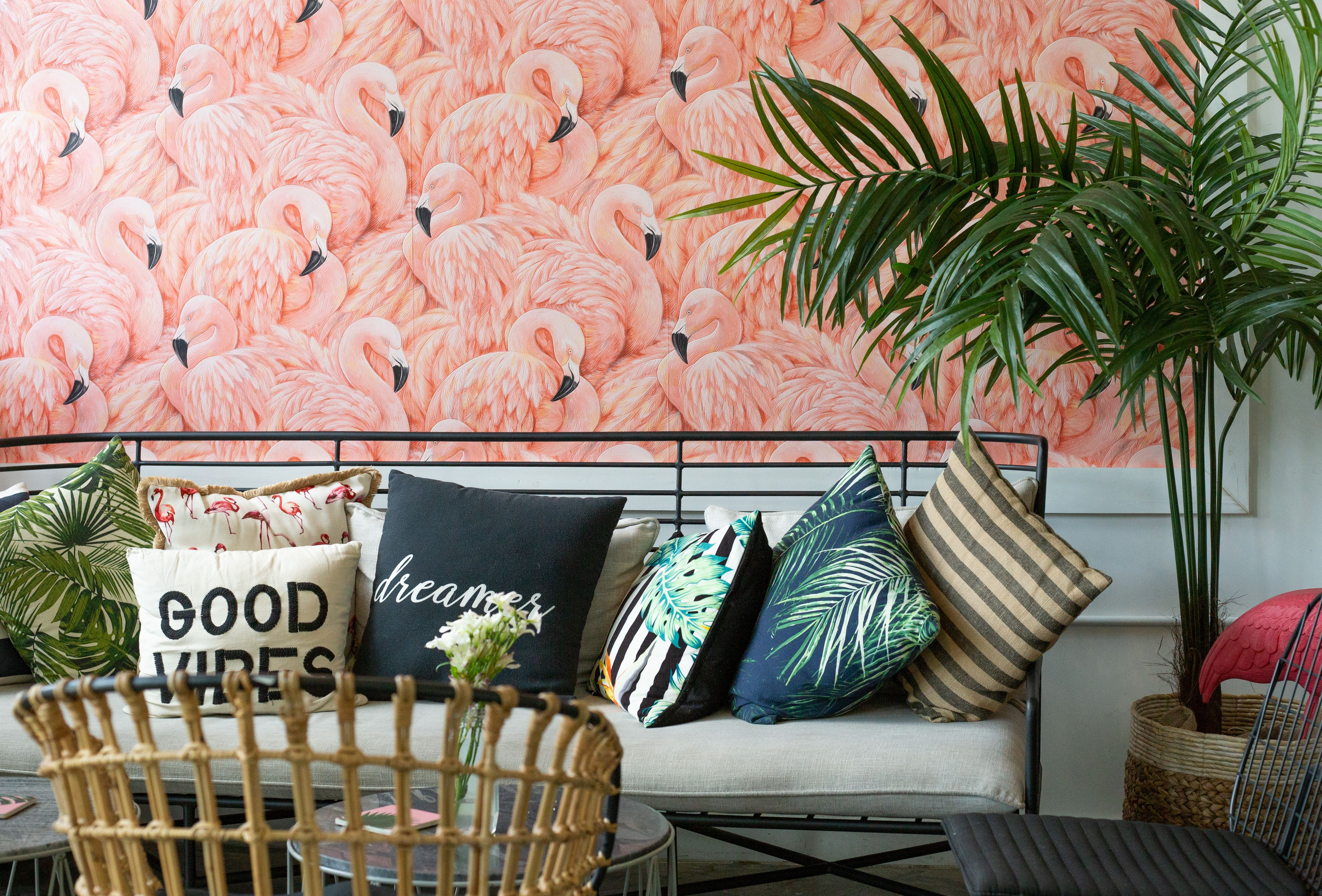 Dreamer Matcha And Acai In Miami Beach Be Sure To Check Out That Flamingo Wallpaper Too Flamingo Wallpaper The Dreamers Decor