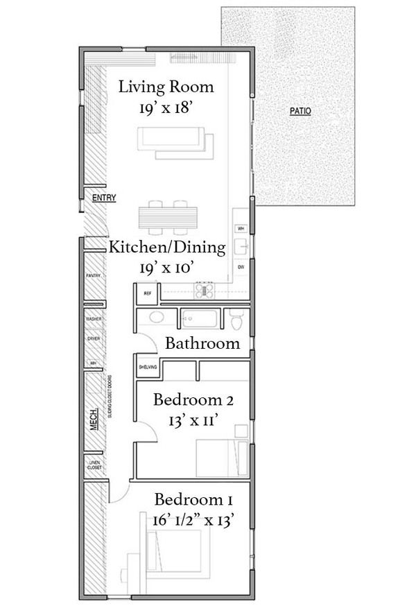 Modern Style House Plan 2 Beds 1 Baths 1396 Sq Ft Plan 497 27 Modern Style House Plans House Plans Container House Plans