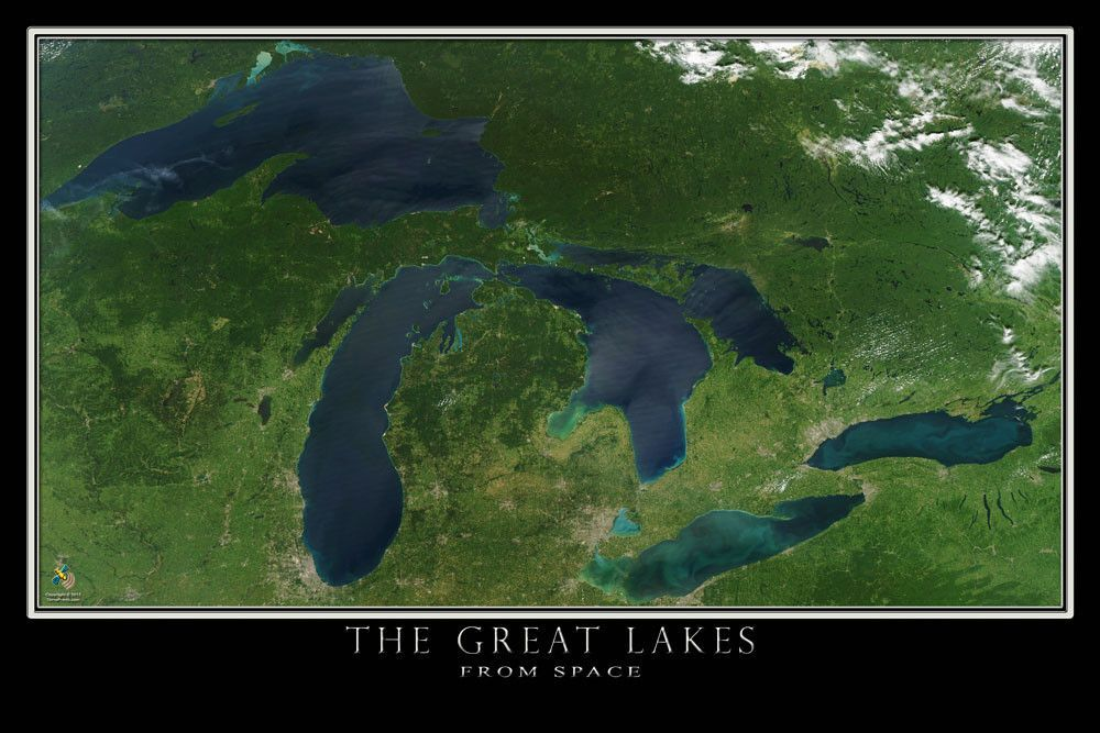 The Great Lakes Satellite Poster Map Lakes And Wisconsin - Satellite world map poster