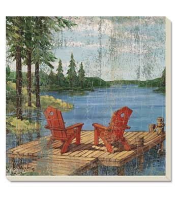 Enjoy a cold drink next to the lake and don't worry about the condensation with this absorbent Stoneware coaster. Lake Life Coaster from Culinary Apple