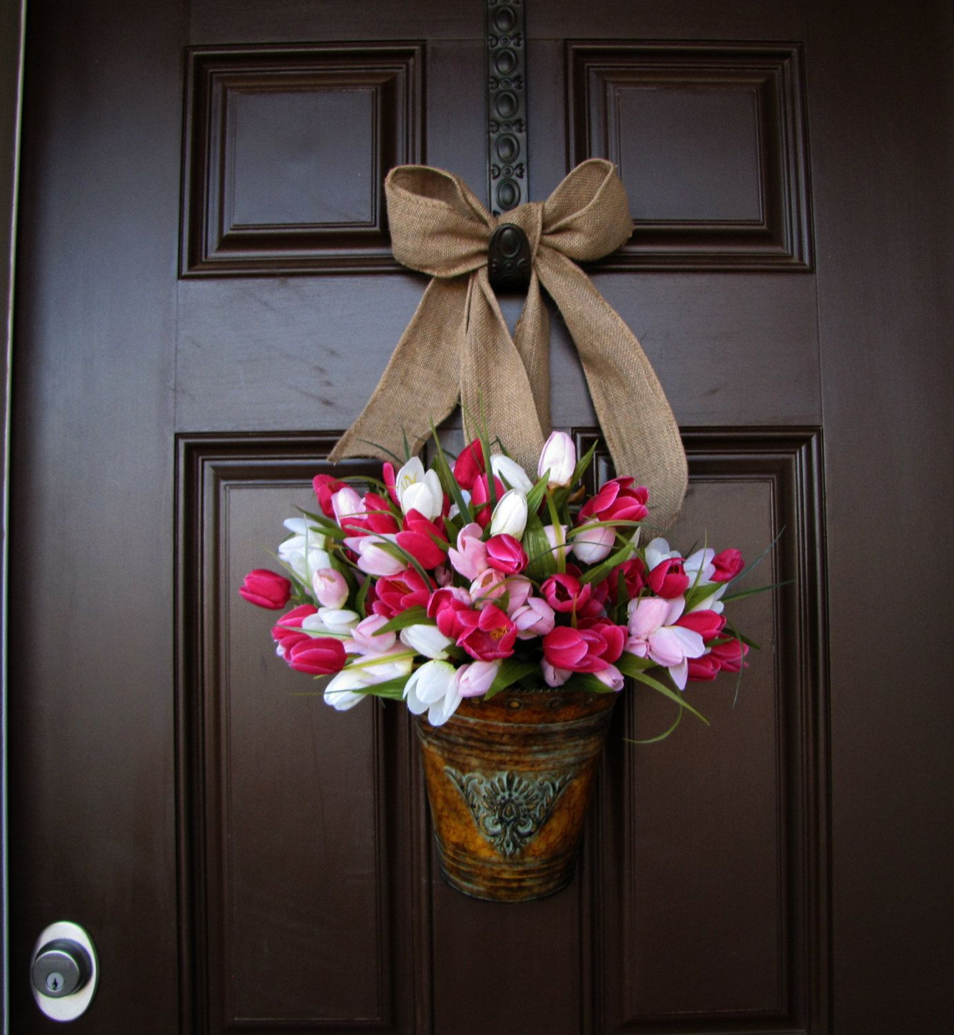 Front Door Bucket Of Pink And White Tulips With Burlap Bow, Year Round  Wreath, Spring Time Wreath