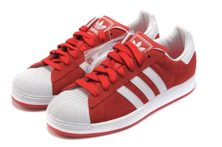 adidas superstar womens red and white