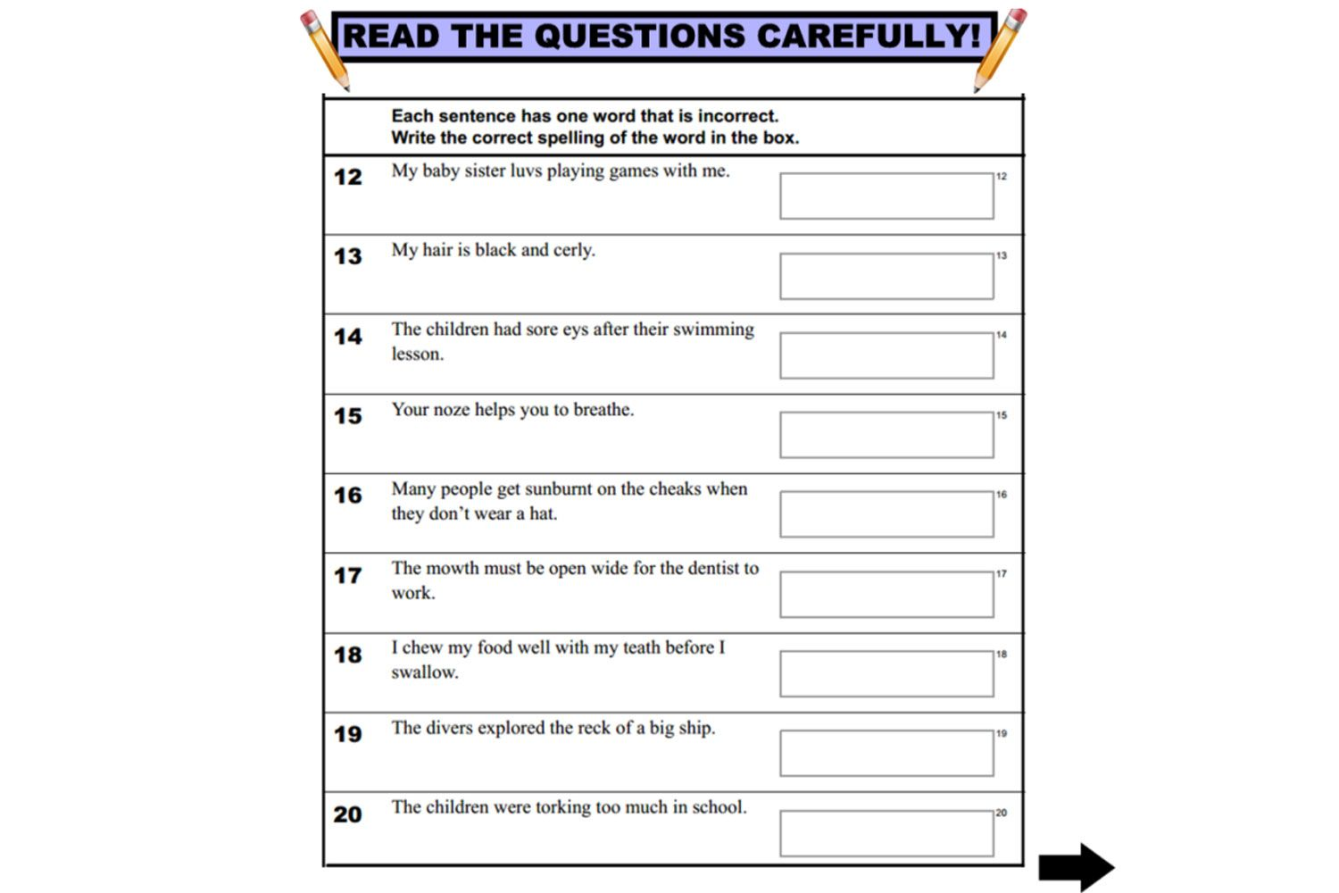 Year 3 NAPALN Language Conventions practice questions for