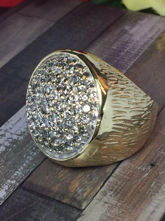 6f76b02e845eaa HUGE 10k solid gold men's Diamond ring - Men Pinky Rings - Hipster Rings -  Man Gold Ring - Cool Men