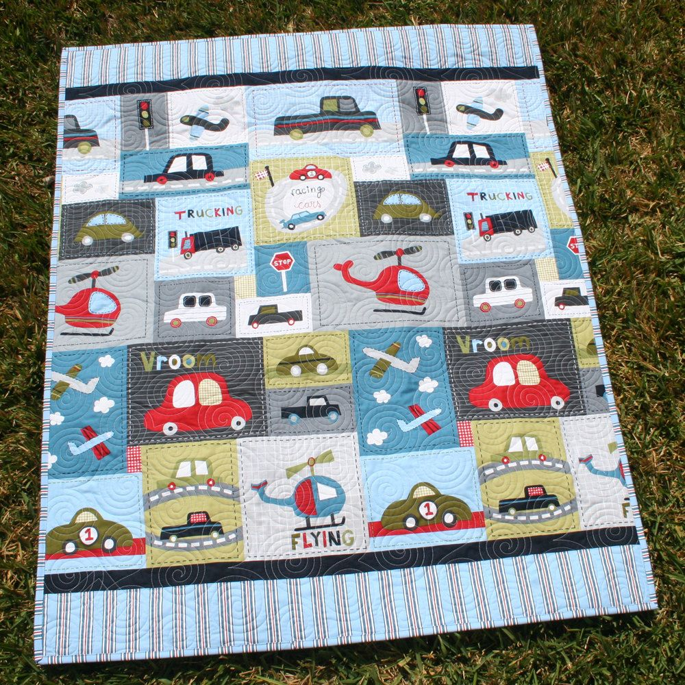 SALE Vroom Baby Boy Quilt Toddler Vehicles Trucks Cars Airplanes ... : baby boy quilts for sale - Adamdwight.com
