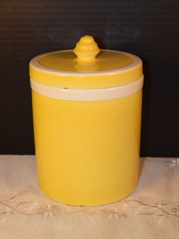 German Yellow White Pottery Canister By Shellysselectsalvage