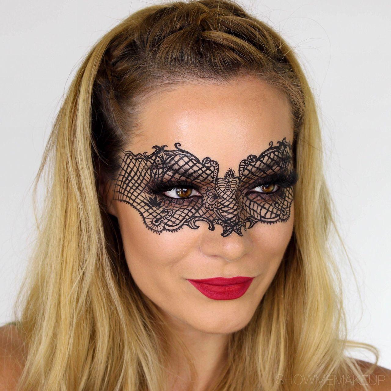 Lace Mask MakeUp Tutorial   Halloween Fancy Dress Masquerade ...