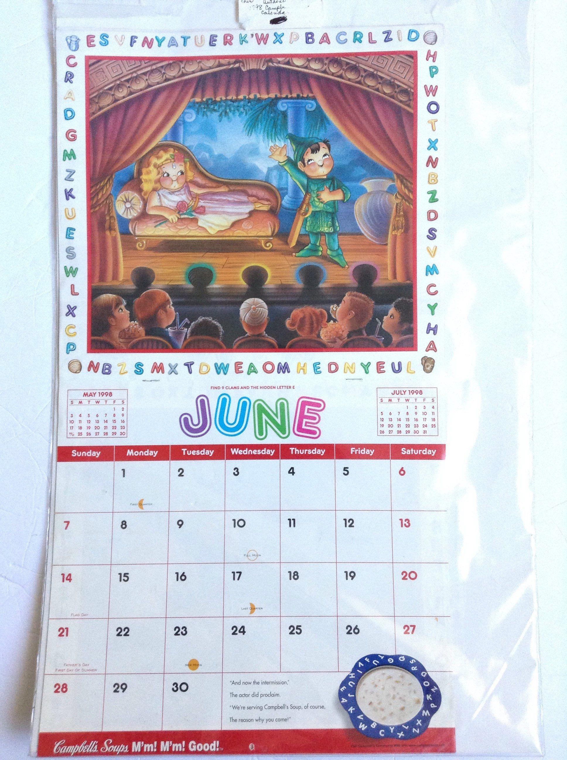 1980 S Vintage Campbell S Soup Calendar M M M M Good Vintage