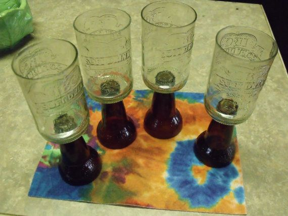 Set of 4 recycled bottle Root Beer Float by FireAntDesign on Etsy, $20.00