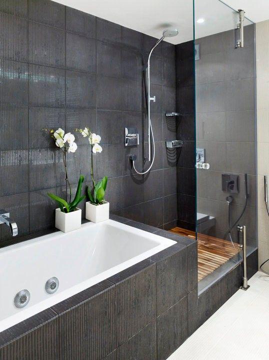 Idées déco pour une salle de bain grise Grey tiles, Bathroom