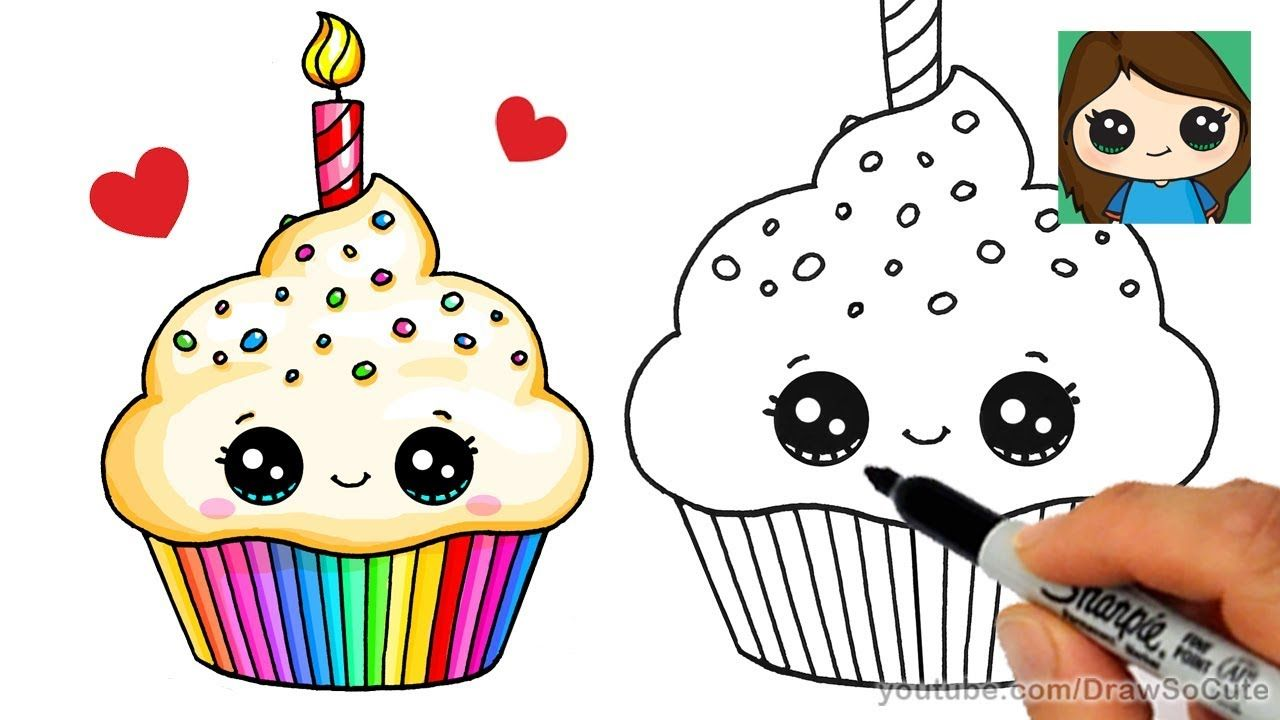How to Draw a Birthday Cupcake Easy Cute drawings