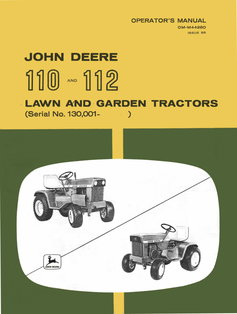 hight resolution of john deere 110 and 112 lawn and garden tractors operator s manual