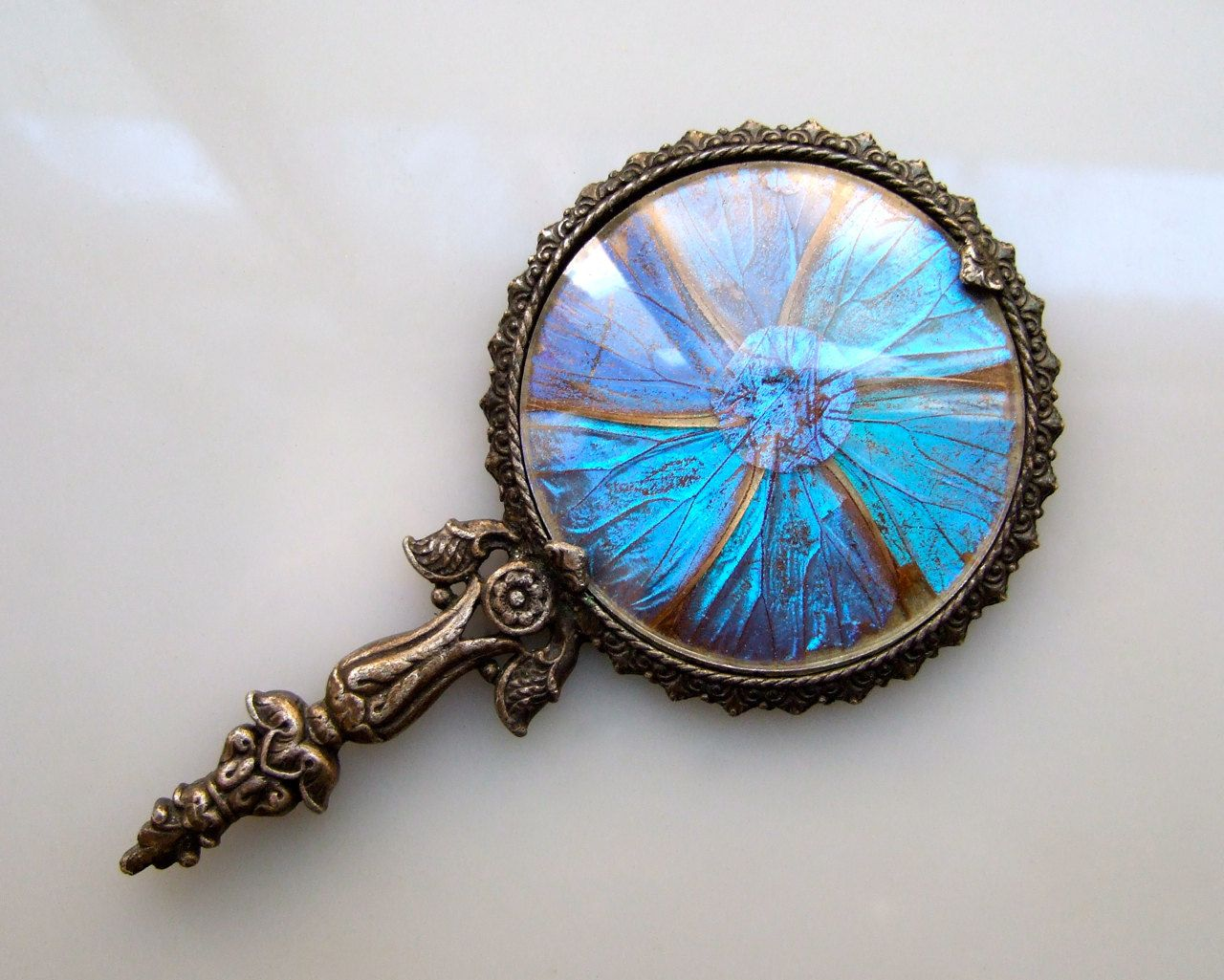 Morpho Hand Mirror Butterfly Wing Art Amp More Mirror