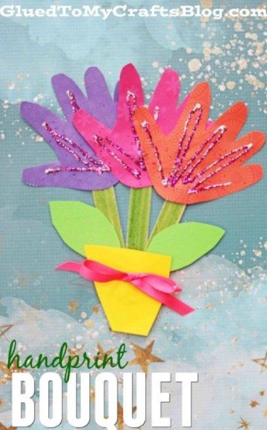Handprint Bouquet Construction Paper Handprint Glitter Mother S