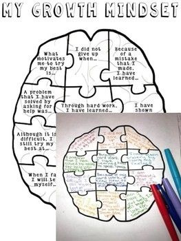 Growth Mindset & Affirmations Brain Puzzle Activity ...