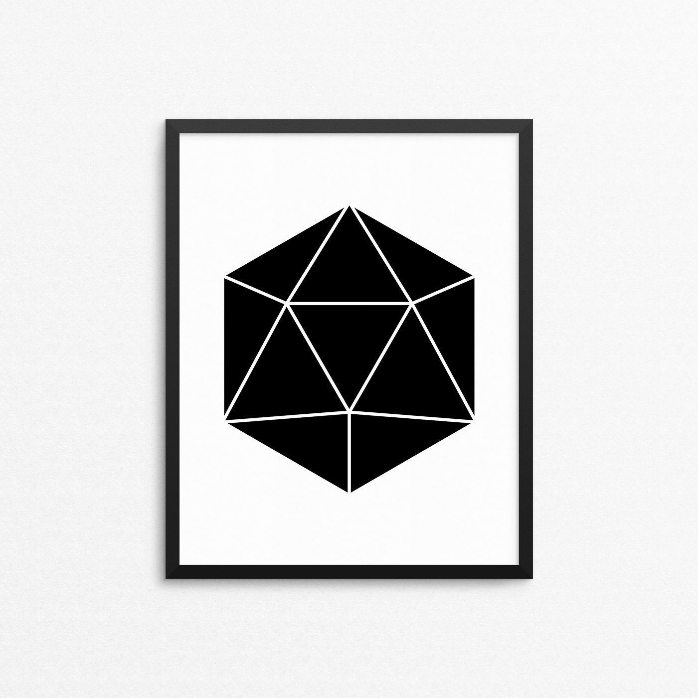 Geometry artwork. Abstract wall art with black polygon. Poster in large printing sizes. #creocrux