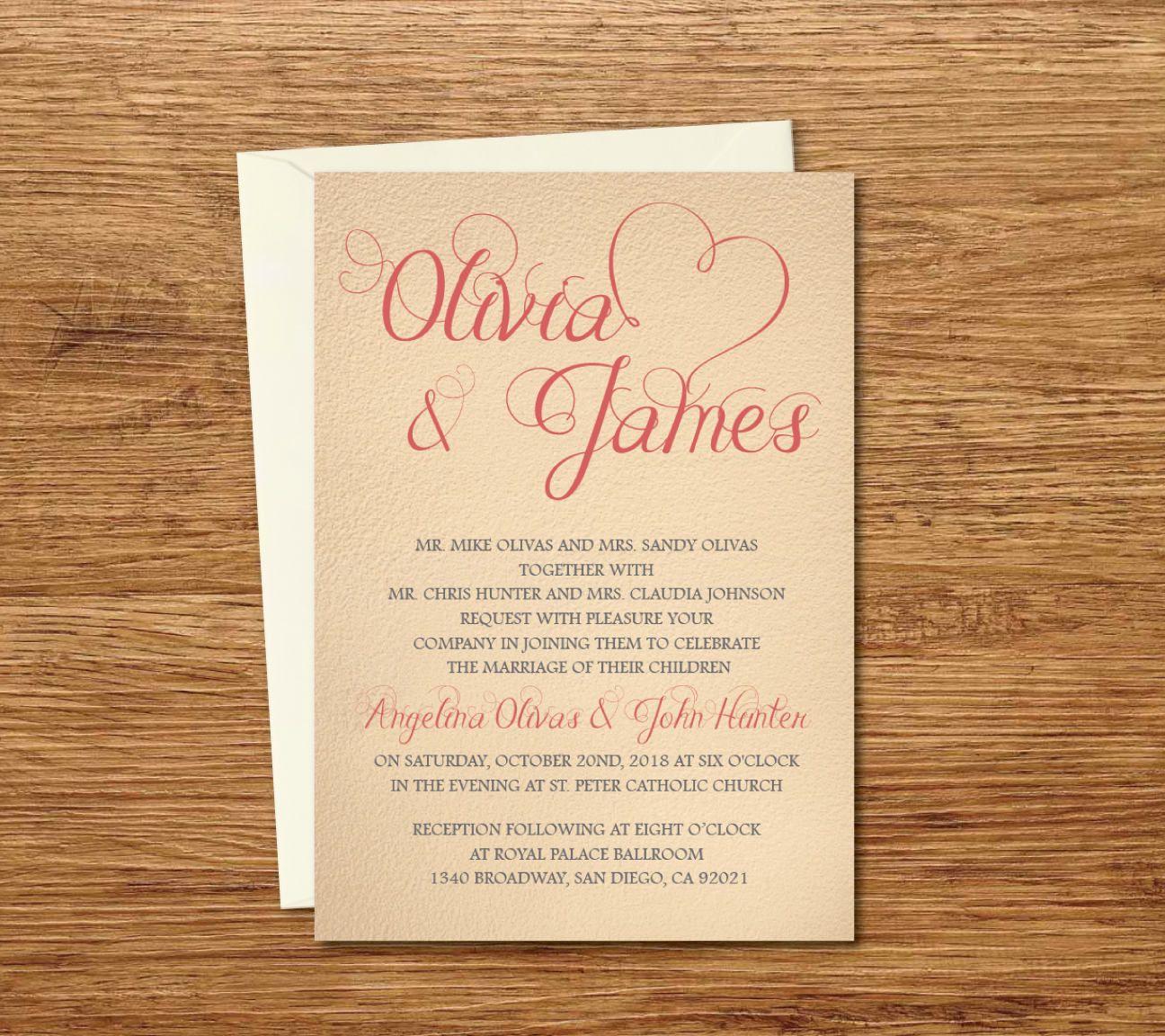 Vintage Custom Wedding Invitation Printable TemplateEcard - Spanish wedding invitations templates