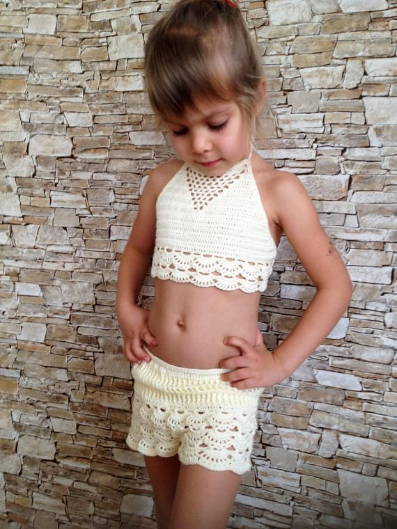 Crochet toddler set top and shorts Beach clothing kids Ivory crochet crop top lace shorts Toddler outfit Open back halter top Crochet shorts