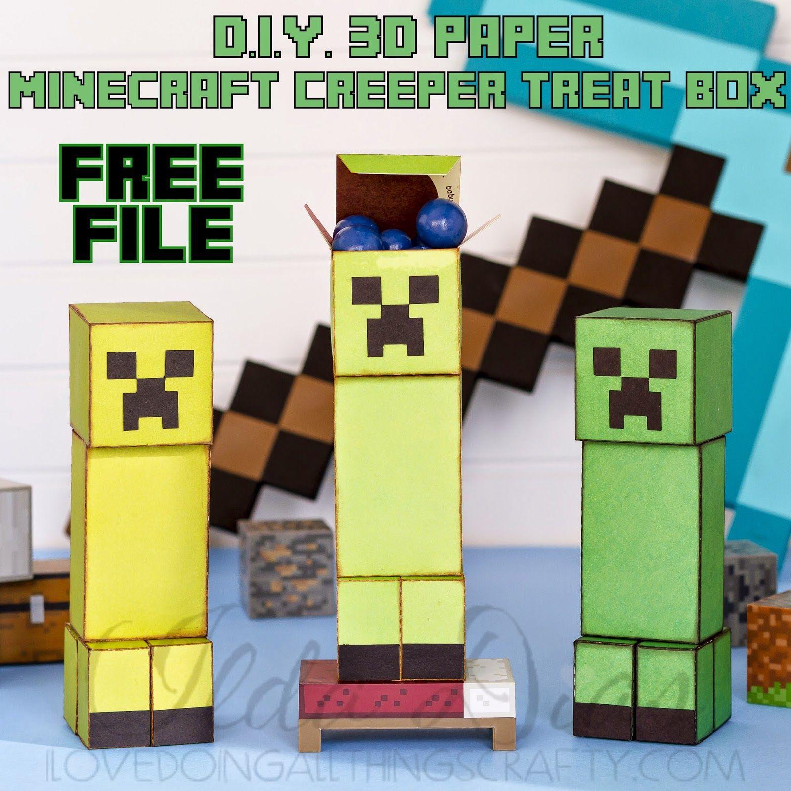 3D Paper Minecraft Creeper Treat Box FREE FILE Cricut