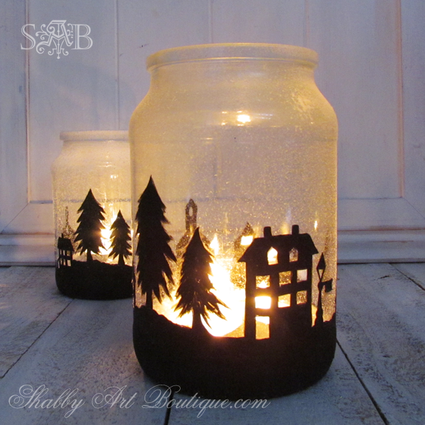 Christmas Township Candle Jar | Christmas Crafts | Pinterest ...