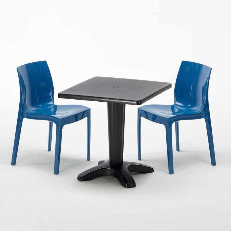 Table Carrée Noire 70x70cm Avec 2 Chaises Colorées Grand ...