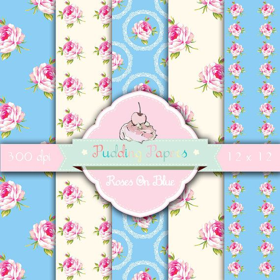 Shabby Chic Digital Paper Quot Roses On Blue Quot Floral Digital Paper With Pink Roses On Blue And Cre Shabby Chic Baby Shower Shabby Chic Pink Paper Floral