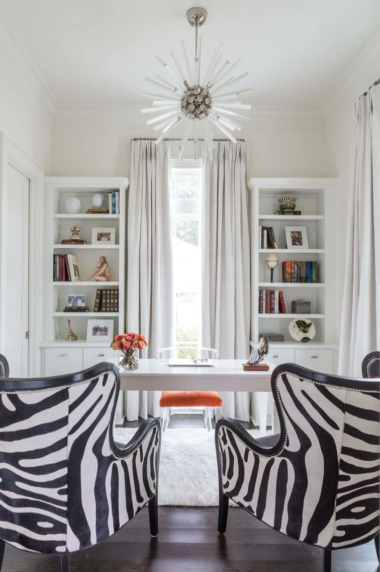 White Office With Black And Zebra Wingback Chairs Transitional Den Library