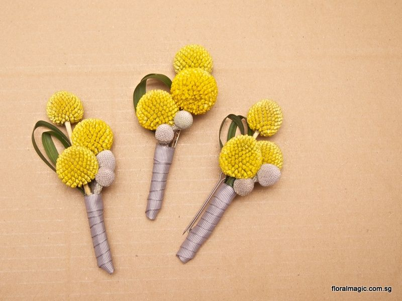 Billy Button Craspedia With Silver Brunia Boutonniere Corsage For The Bridal Party From Www Floralmagic Com Sg