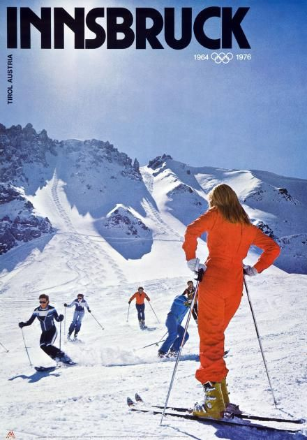 Vintage 1964 Innsbruck Winter Olympics Poster A3//A4 Print