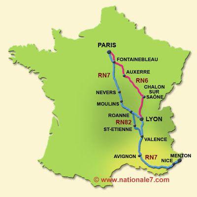 carte de france avec nationale 7